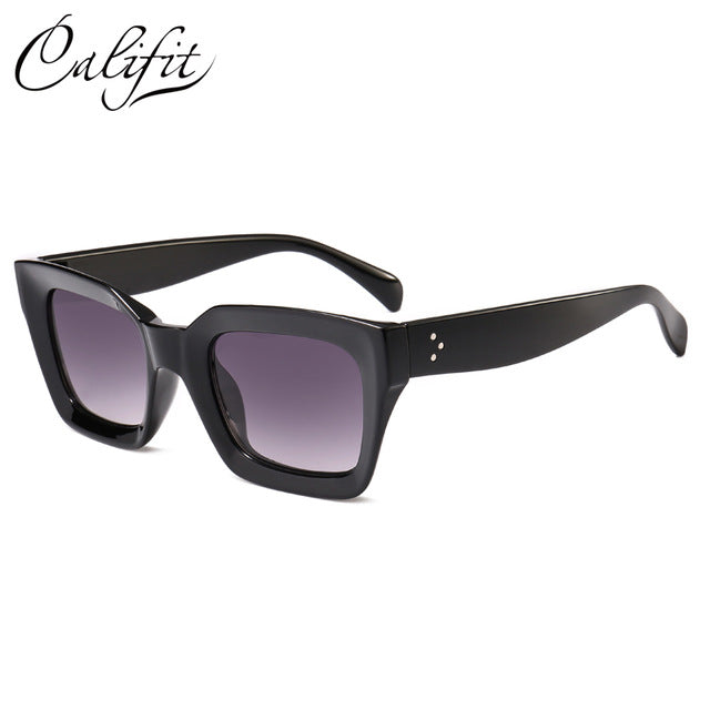 CALIFIT Black Frame Vintage Square Men Sunglasses Women Rivet High Quality Gradient Sun Glasses For Women Ladies Shades Oculos