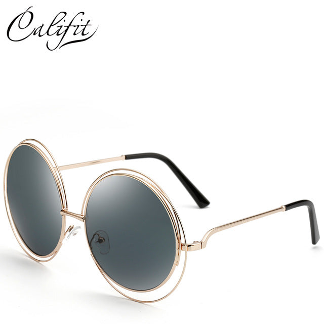 CALIFIT Ladies Oversized Mirror Round Sunglasses Women Vintage Brand Design Shades Oculos Female Retro Sun Glasses For Women