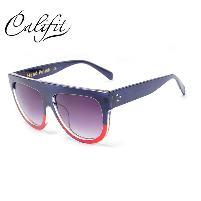 CALIFIT Ladies Oversized Flat Sunglasses Women Vintage Leopard Sun Glasses For Women Brand Shades Oculos Female Retro