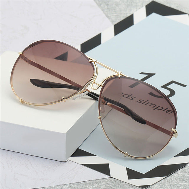 Oversized Unique Wrap Sunglasses Women Gold Metal Legs Vintage Eyeglasses Female UV400 Gradient Sun Glasses Eyewear #245055