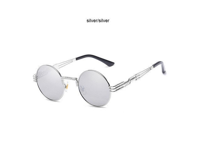 Steampunk Sunglasses Women Men Metal Wrap Eyeglasses Round Shades Brand Designer Sun glasses Mirror High Quality UV400 Oculos