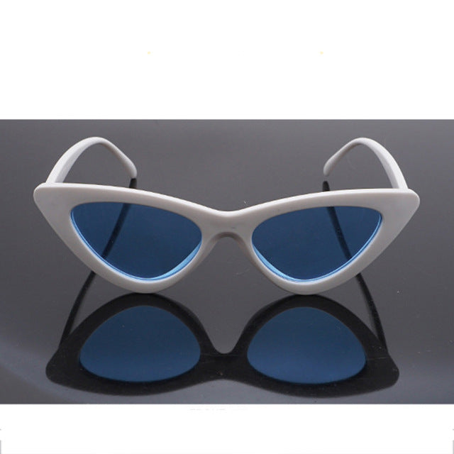 ZUCZUG Brand Cat Eye Sunglasses Women New Fashion Triangle Small Size Frame Eyewear Reb Blue Green Lens Sun Glasses UV400