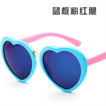 UCOOL New Cute Girls Pink Mirror Lovely Sun Glasses 100% Kid Baby Eyewear High QualityFashionable Heart Shape Sunglasses