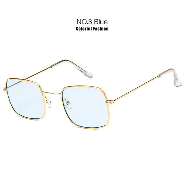 YOOSKE Metal Sunglasses Men Women Retro Sun Glasses Fashion Ocean Clear Yellow Pink Color Sunglass small frame Glasses