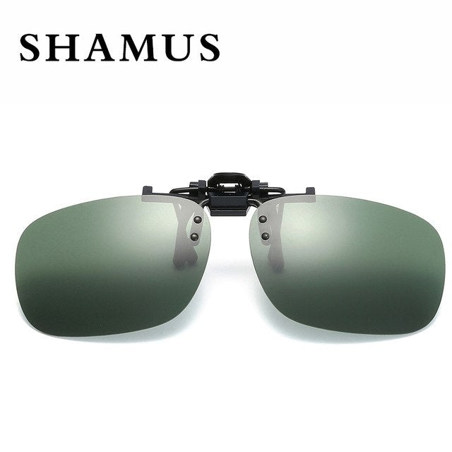 SHAMUS Brand Sunglass Clip Polarized Lens Clip On Sunglasses Rectangle Shape Lens Pilot Lens Sun Glasses Clip Eyewear