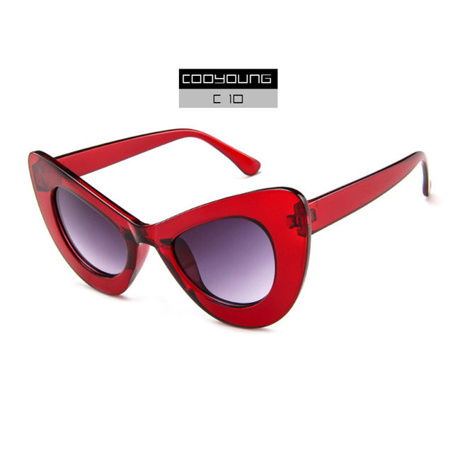 COOYOUNG Vintage Cat Eye Sunglasses Women Brand Designer Sun Glasses Female Retro Cateye Eyewear