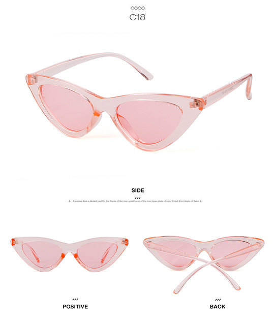 WHO CUTIE Small Cateye 90s Sunglasses Sexy Women Vintage Cat Eye Frame Red Mirror Lens Tiny 80s 90s Sun Glasses Shades 440B
