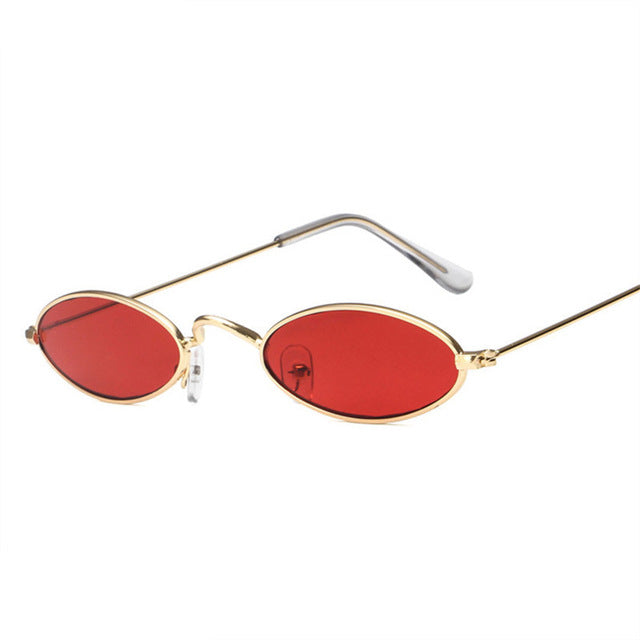 d76e253f86ac Oulylan Small Oval Sunglasses Men Women Retro Metal Frame Yellow Red Vintage  Tiny Round Skinny Male