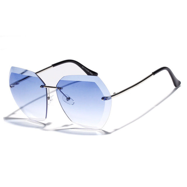 Pop Age High quality Rimless Women Sunglasses Celebrity Vintage Driving Sun glasses Ladies Eyewear Oculos de sol 400UV Shades