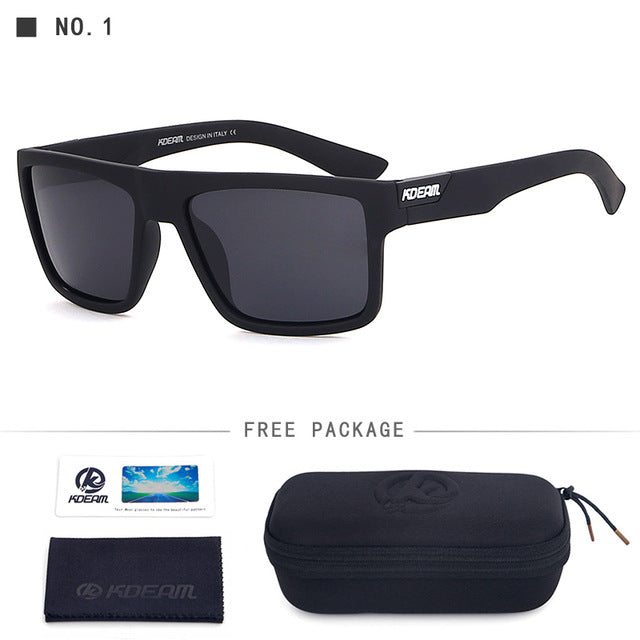New KDEAM Sunglasses Men Sports Polarized Sun Glasses Cool Black Square Frame UV400 Driving With original case CE KD05X-C1