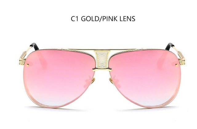 luxury Aviation Sunglasses woman metal frame brand designer vintage shades pink mirror points big male sun glasses gradient