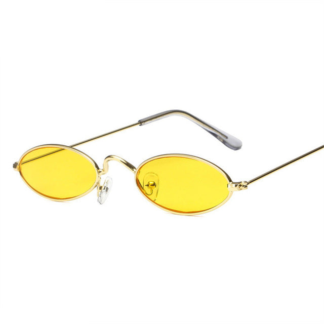 Oulylan Small Oval Sunglasses Men Women Retro Metal Frame Yellow Red Vintage Tiny Round Skinny Male Female Sun Glasses UV400