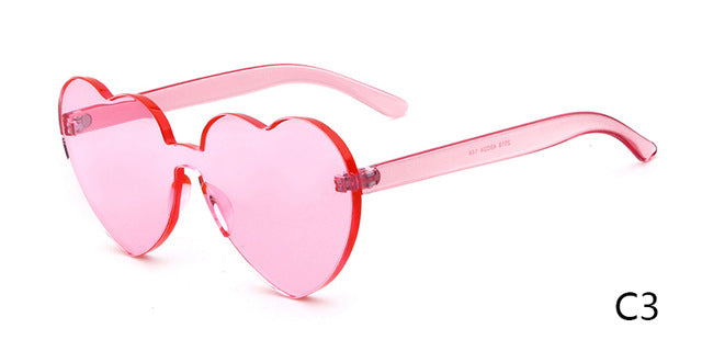 WHO CUTIE Vintage Heart Shape Sunglasses Women Brand Design Rimless Frame Sun Glasses Purple Red Pink Yellow Shades OM448