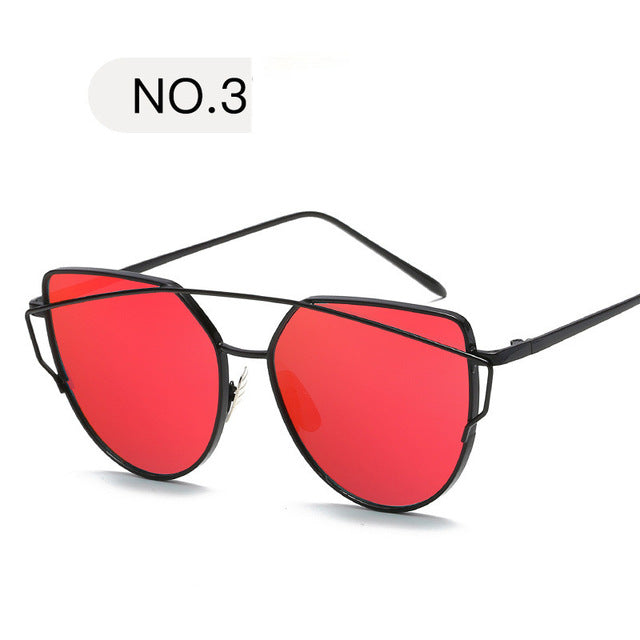 New Fashion Cat Eye Sunglasses Women Luxury Brand Design Mirror Lens Vintage Sun Glasses Rose Gold Metal UV400 oculos