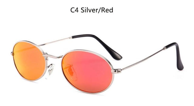 90s Oval Sunglasses gold black retro pink red sun glasses women mirror luxe 80s small round sunglasses mens flat lens vintage UV