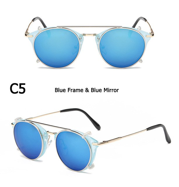 JackJad New Fashion SteamPunk Style Lens Removable Cool Sunglasses Clip On Vintage Brand Design Sun Glasses Oculos De Sol 8937