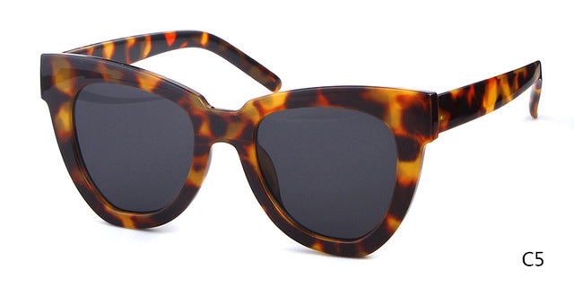 STORY Vintage Retro Cat Eye Sunglasses Brand Designer Sexy Leopard Big Frame Oceans Sun Glasses Cateye Shades For Femal