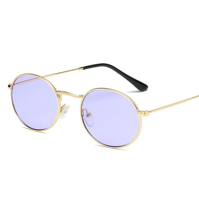 YOOSKE Small Round Sunglasses Women Brand Designer Sea Color Sun glasses Transparent Matel Frame Clear Cat Eye Glasses Shades