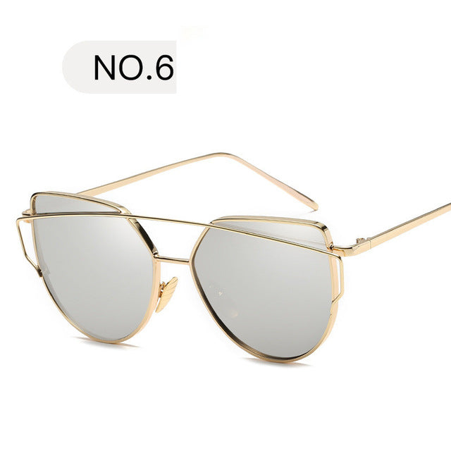 Sunglasses Women Luxury Cat eye Brand Design Mirror Rose New Gold Vintage Cateye Fashion sun glasses lady Eyewear