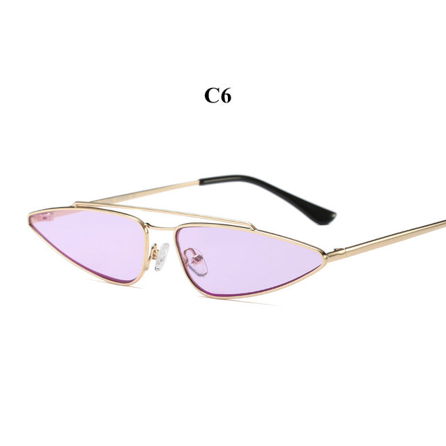YOOSKE Vintage Small Cat Eye Glasses Women Unique Style Retro Sunglasses Metal Fashion Catwalk Sun Glasses Anti-UV Goggles
