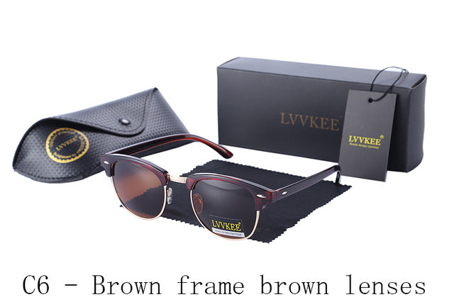LVVKEE Brand Hot sale half frame Polarized sunglasses Club Master Sun glasses outdoors driving sunglass UV400 Eyewear gafas