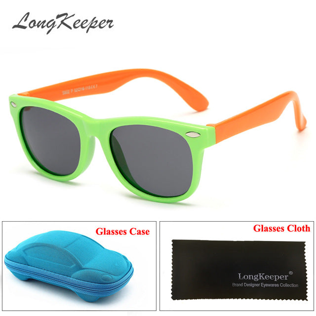 LongKeeper Flexible Kids Sunglasses Polarized Child Safety Sun Glasses UV400 Eyewears Gift For Infant Children Baby With Case