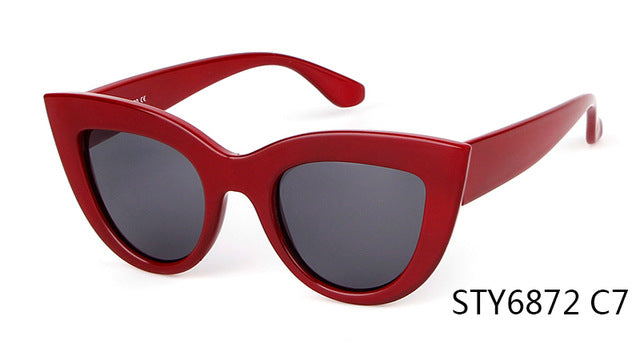 STORY Mirror Sunglasses Women Brand Designer White Frame Red Cat Eye Sunglasses Cateye Sun Glasses Female UV400 Ladies Shades