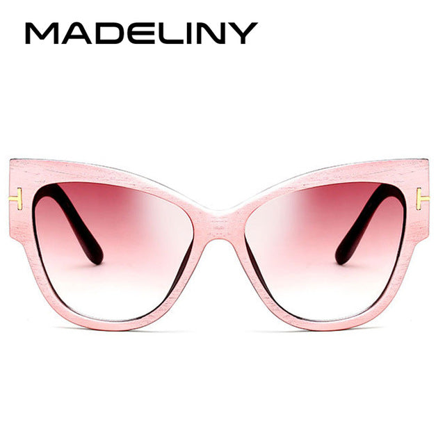 MADELINY New Fashion Brand Designer Tom Cat Eye Sunglasses Women Oversized Frame Vintage Sun Glasses oculos de sol UV400 MA092