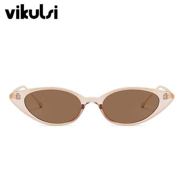 New Unique Cool Small Cat Eye Sunglasses Women Classic Brand Designer Oval Metal Frame Sun Glasses For Female Male Shades