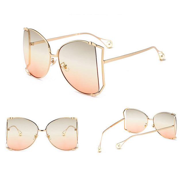 Luxury Brand Cat Eye Women Sunglasses Pearl Decoration Legs Fashion Square Sun Glasses Ladies Gradient Clear Shades UV400