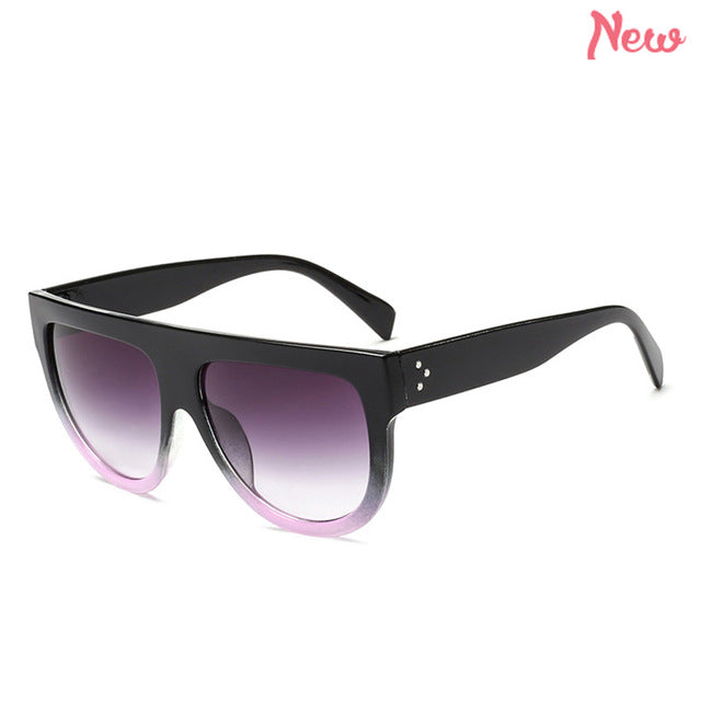 WISH CLUB Fashion Brand Designer Sunglasses Women Sun Glasses Retro Women Oversized Shade Lady Gradient Lens Female oculos