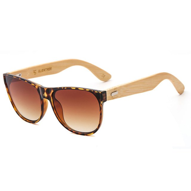 SUPERTREE New Bamboo Sunglasses Vintage Sun Glasses Retro Fashion Wooden Shades Rimmed Gafas de sol UV Protection JH8004