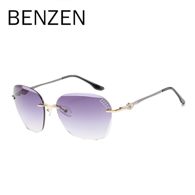 BENZEN Luxury Sunglasses Women Elegant Rimless Female Sun Glasses UV 400 Ladies Shades Accessories Black With Case 6195