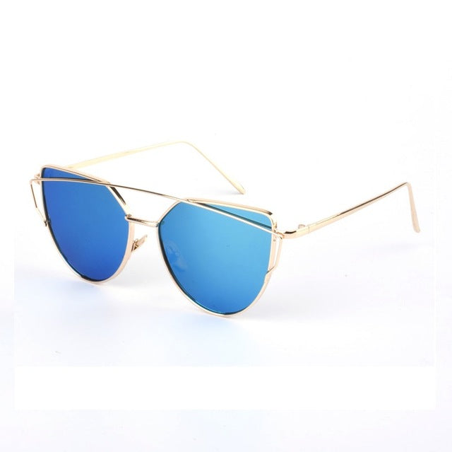 RunBird New Cat Eye Sunglasses Women Brand Designer Fashion Twin-Beams Rose Gold Mirror Cateye Sun Glasses For Female UV400