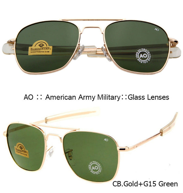 IVSTA Pilot Sunglasses Men American Army Military Brand Driving AO Sun Glasses For Male Glass Lenses Alloy with Original Box