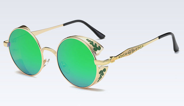 Eyecrafters Polarized Gothic Steampunk Sunglasses Coating Mirrored Round Circle Sun glasses Retro Vintage Gafas Masculino Green