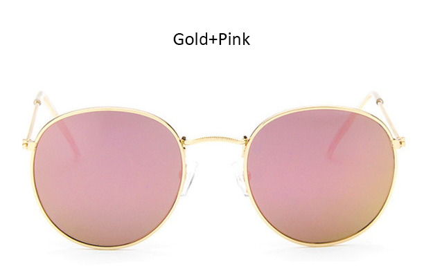 TSHING RAY Classic Vintage Small Round Sunglasses Retro Men Women Brand Designer Metal Pink Mirror Sun Glasses Female Lady UV400