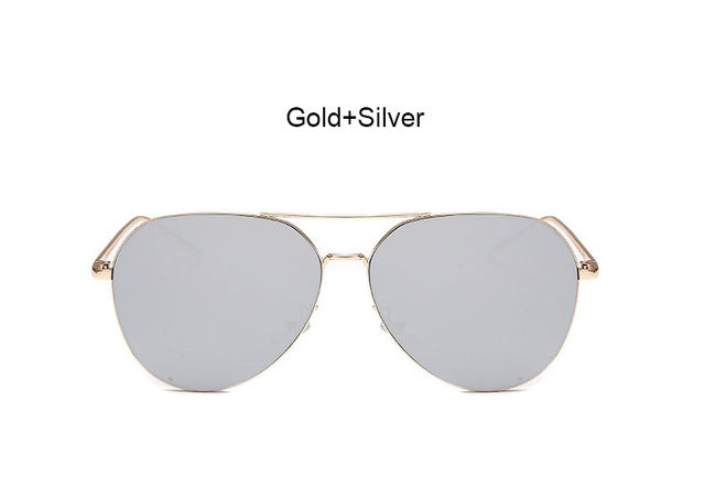 Coodaysuft Trend Fashion Flat Top Lens Mirror aviation Sunglasses Women Stylish Sun Glasses Lady Men Rose Gold Eyewear Mirror