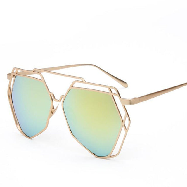 New Fashion Polygon Hollow Sunglasses Blue Green Black Clear tinted Lady Metal Frame Anti-Reflective Women Sun glasses
