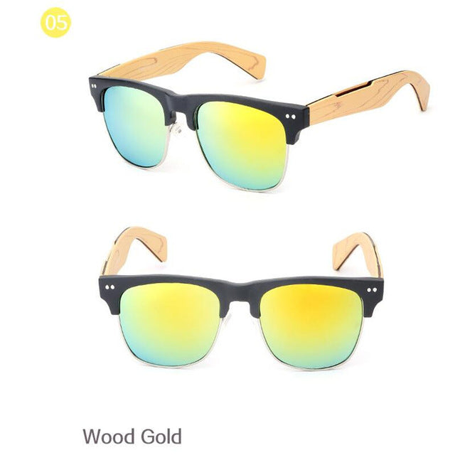 Imitate Wooden Bamboo Sunglasses Men Women Mirrored UV400 Sun Glasses Real Wood Shades Gold Blue Outdoor Goggles Sunglases Male