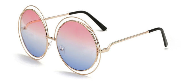 SHAUNA Vintage Oversize Round Sunglasses Women Alloy Around Hollow Frame Brand Designer Fashion Circling Frog Sun Glasses UV400