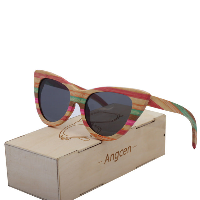 Angcen Vintage Wooden Sunglasses Women Brand Colorful Square Polarized Sun Glasses ladies Mirror Bamboo Sunglasses For Man CA03