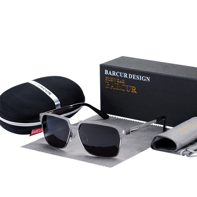 BARCUR Black High Quality HD Polarized Sunglasses Men Driving Sun Glasses for Man Shades Eyewear With Box