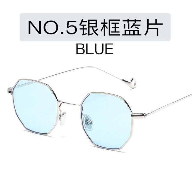 13 Colors blue yellow red tinted sunglasses women small frame polygon brand design vintage sun glasses for men retro