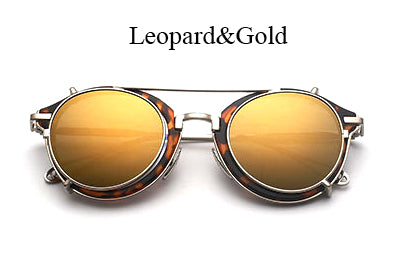 TSHING RAY Steampunk Round Sunglasses Men Women Fashion Brand UV400 Alloy Frame Steam punk Mirror Clip Sun Glasses Male Female