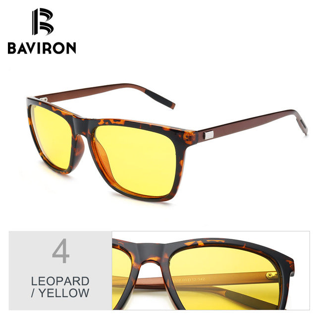 BAVIRON New Wrap Square Sunglasses Aluminum Legs Men Sunglasses Polarized Sun Glasses Driving UV400 Protect Eyewear
