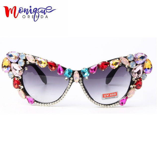 Fashion Sunglasses Oversize Cat Eye Sunglasses Women Brand Designer Luxury Colorful Crystal Sexy Sun Glasses For Ladies Oculos