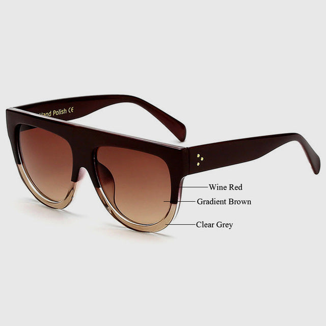 MADELINY New Fashion Sunglasses Women High Quality Acetate Top Flat Shield Shape Sun Glasses Vintage Cat Eye Eyewear MA101