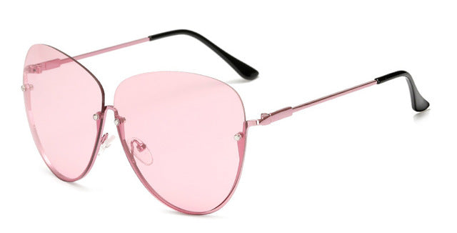 SHAUNA Unique Women Half Frame Butterfly Sunglasses Brand Designer Fashion Ladies Candy Colors Lens Sun Glasses UV400