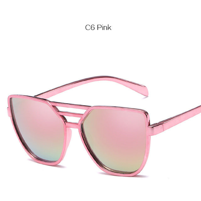 NYWOOH Cat Eye Sunglasses Women Brand Shades Sun Glasses Ladies Color Film Reflective Glasses Female Retro Eyewears UV400
